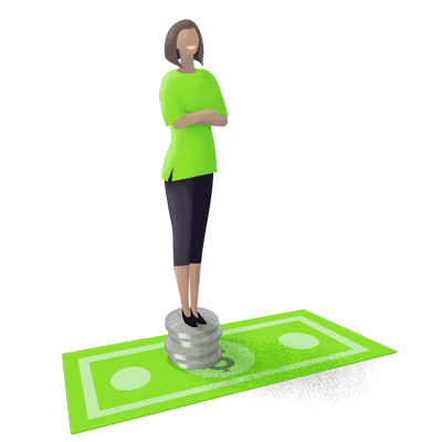 illustration of a woman standing atop of a stack of coins on a currency note