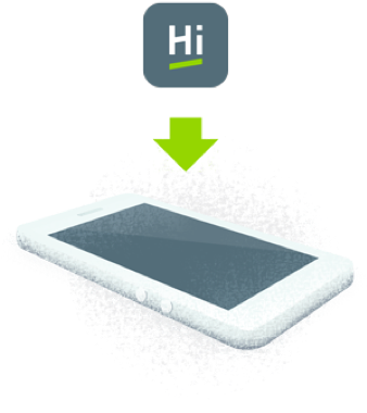 Illustration of mobile app icon to smart phone