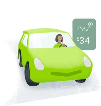 illustration with car and related data bubble